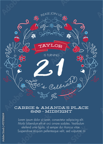 21st birthday party invitation template vector red white and 21st birthday party invitation template vector red white and blue filmwisefo