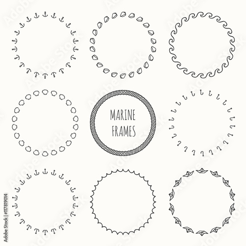 Set Of Hand Drawn Nautical Hipster Pattern Wreath For Invitations