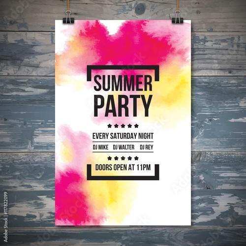 Watercolor summer party poster © Freepik