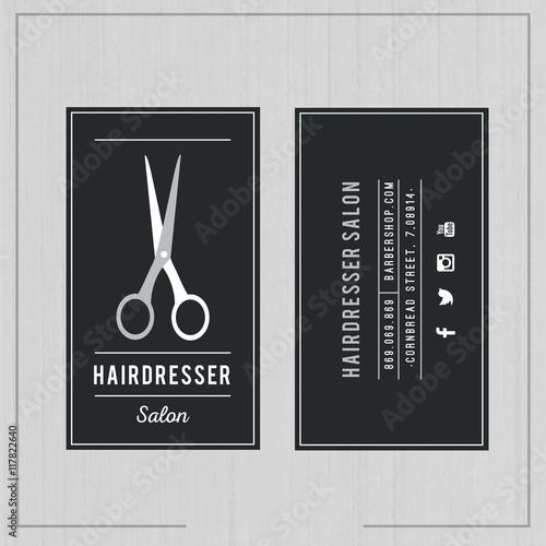 Dark hairdresser salon card