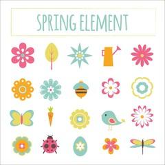 Hand drawn cute spring elements