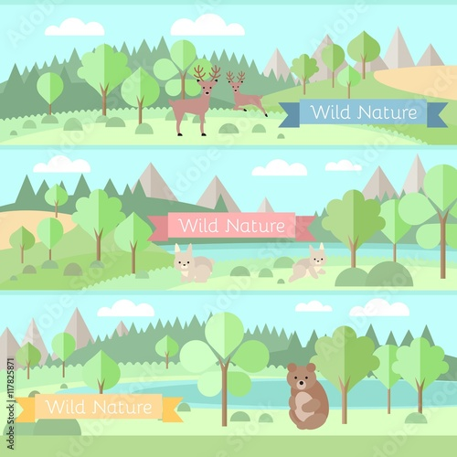 Door stickers Light blue Forest with animals banners