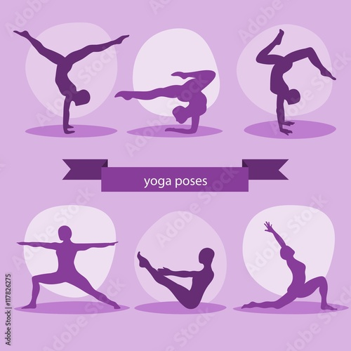 Purple silhouettes yoga poses pack Fototapet
