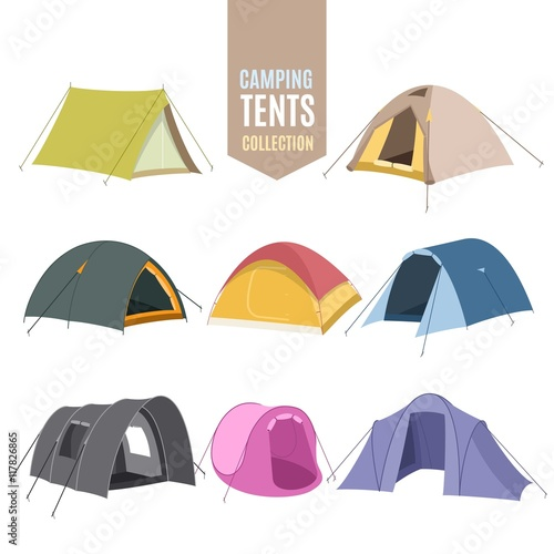 Hand drawn camping tent collection Canvas