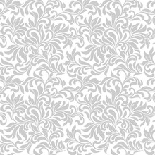 Seamless Pattern. Tracery Of Gray Floral Abstract Element On A White Background. Vintage Style. The Pattern Can Be Used For Printing On Textiles, Wallpaper, Packaging