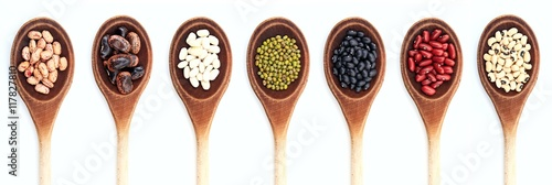 Poster Légumes frais Various kinds of beans in spoons on white background