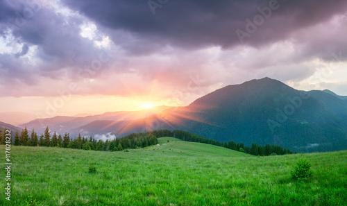 Foto op Plexiglas Groene Summer landscape with a beautiful sunrise in the mountains