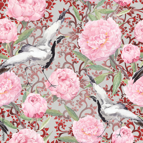 Crane birds, peony flowers. Floral repeating ornate pattern. Watercolor