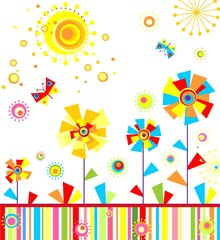 Fototapeta Motyle Childish greeting applique with abstract colorful flowers