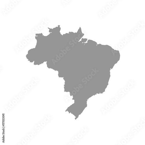 Gray map Brasil on a white background – kaufen Sie diese ...