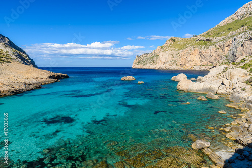 Foto op Aluminium Bleke violet Cala figuera at cap formentor - beautiful coast and beach of Mallorca, Spain