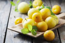 Summer Sweet Yellow Plums On T...
