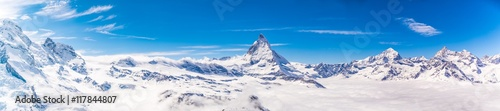 Matterhorn and snow mountains panorama view at Gornergrat, Switzerland Wallpaper Mural