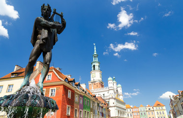 fountain on Old Market Square in Poznan, Poland