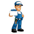 Handyman wearing work clothes and a belt, he has a business card