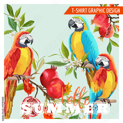 Poster Parrot Tropical Graphic Design. Parrot Birds, Pomegranates and Tropical Flowers