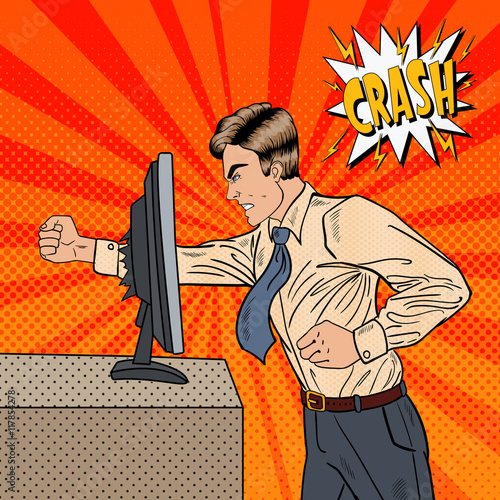 Angry Businessman Crashes Computer in Office with His Fist. Pop Art
