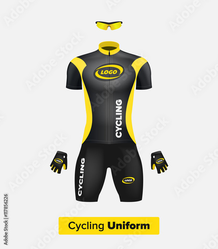 Realistic vector cycling uniform template. Black and yellow. Branding  mockup. Bike or Bicycle clothing and equipment. Special kit - short sleeve  jersey e7e1b12a2