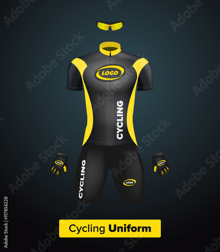 Realistic vector cycling uniform template. Black and yellow. Branding  mockup. Bike or Bicycle clothing and equipment. Special kit - short sleeve  jersey b2be1ee9c