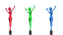 Red, Green And Blue Gymansts On Balance Beam - Salute - Back View - 3D Illustration