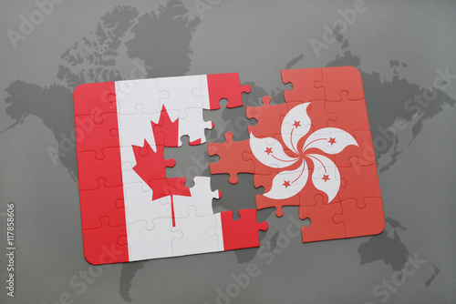 Photo  puzzle with the national flag of canada and hong kong on a world map background
