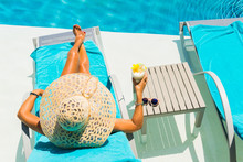 Woman At The Poolside With Pin...