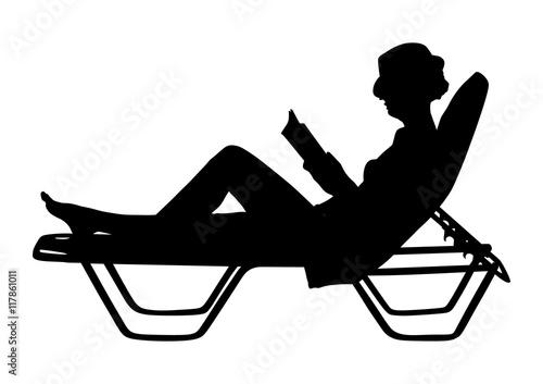 Young beautiful woman lying down on sun bed sofa lounge ...