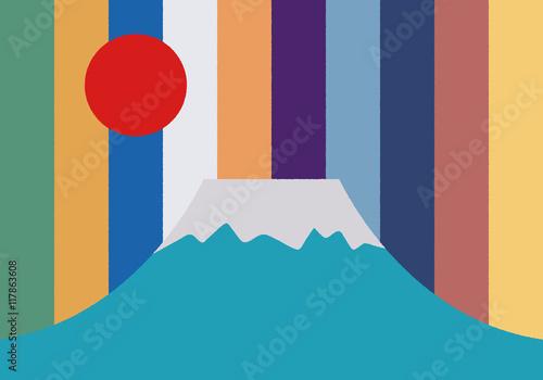 富士山のクラフトデザイン - 117863608