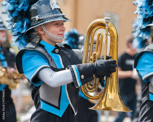 Teen baritone player marching in the band. Wallpaper Mural