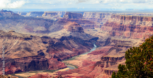 In de dag Zalm Panorama image of Colorado river through Grand Canyon