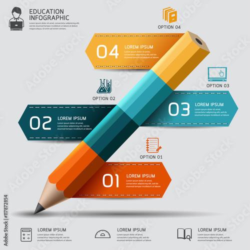 Photo  Education pencil Infographics step option