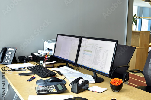 items for office desk. Busy Office Desk With All Items At The Work For