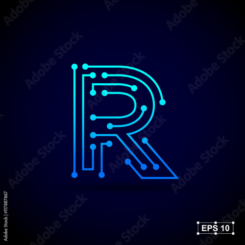 Photo  Letter R logo design template,Technology abstract dot connection cross vector lo