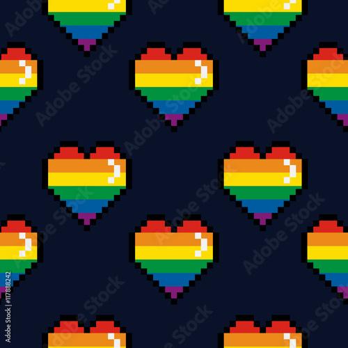 Foto  Vector seamless pattern 8 bit Pride lgbt pixel color heart Valentines Day retro