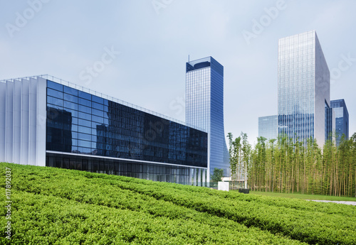 Fototapety, obrazy: business district and green with skyline in background