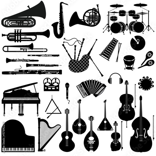 Set of musical instruments.
