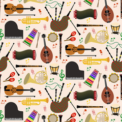 Fototapeta Muzyka / Instrumenty Pattern with musical instruments