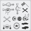 Set of car service icons and design elements.