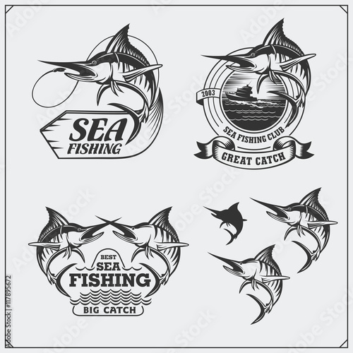 Photo Stands Owls cartoon Set of sea fishing labels, badges and design elements. Marlin illustrations. Vintage style.
