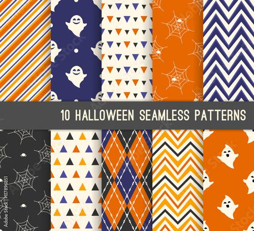 Materiał do szycia Dziesięć Halloween różnych wzorów bez szwu.