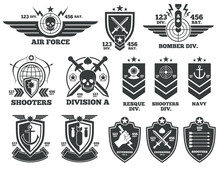 Vintage Military Vector Labels...