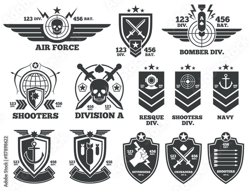 Obraz na plátně Vintage military vector labels and patches
