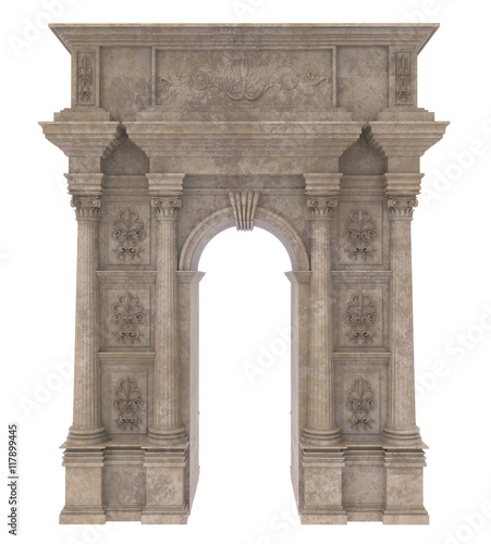Photo  Classic stone arch with columns