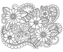 Doodle Pattern In Black And White. Floral Pattern For Coloring Book. Zentangle Art Drawing Pattern.