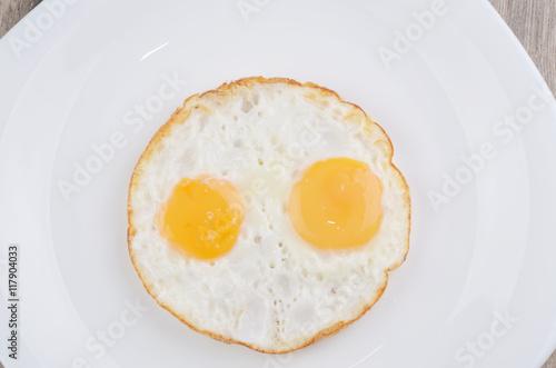 Deurstickers Gebakken Eieren Fried eggs on white