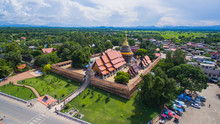 Aerial View Phra That Lampang Luang Is A Lanna-style Buddhist Te