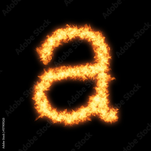 Lower case letter a with fire on black background- Helvetica font