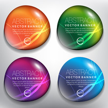 Abstract Vector Banners Set Of 4. Pebbles. Colorful And Glossy On The White Panel. Vector Illustration. Eps10.