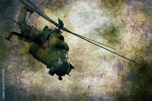 fototapeta na szkło Military helicopter on grunge background