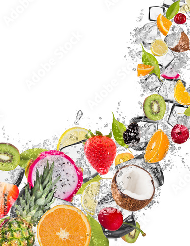 Poster Fruit Fruit in water splash on white background